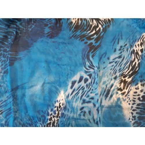 Animal leopard abstract print viscose oblong scarf blue