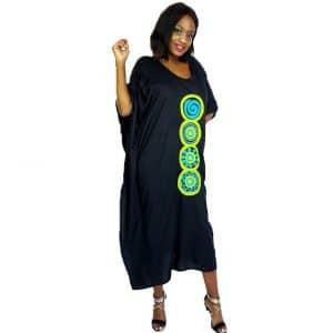 African Circle hand embroidered long kaftan maxi dress green