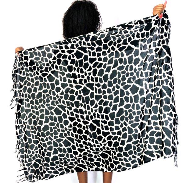 African Animal Giraffe print sarong beach wrap black