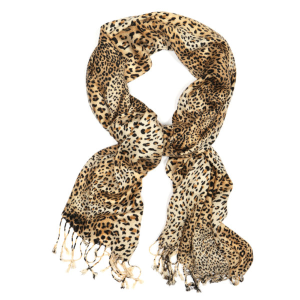 Leopard Small Spots animal print Viscose pashmina shawl wrap scarf brown