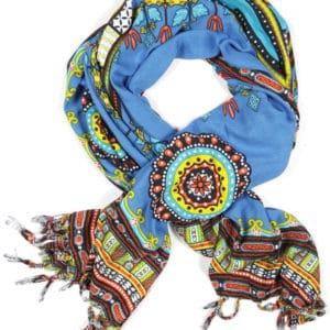 African Dashiki print Rayon sarong beach wrap with tassels blue