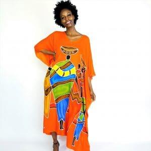 African Family long kaftan hand painted maxi dress orange