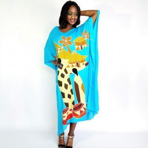African Village Rayon long kaftan maxi dress Turquoise