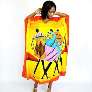 African Village Walker rayon long kaftan maxi dress