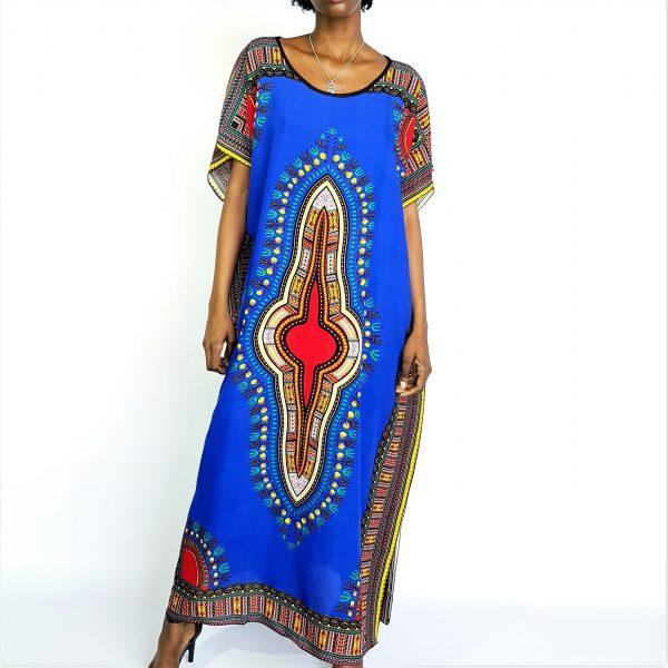 African Dashiki print long kaftan summer maxi dress blue