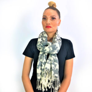 Ellie Family animal pashmina prints shawl scarf grey and white