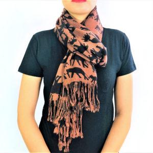 Ellie Family animal pashmina prints shawl scarf chocolate