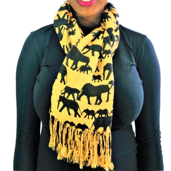 Ellie Family animal pashmina prints shawl scarf brown