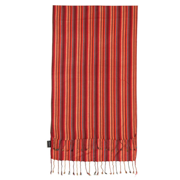 African Kenya thin stripes viscose woven oblong scarf burgandy