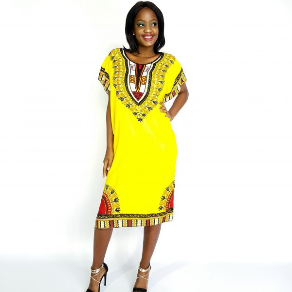 African Dashiki print slim long kaftan summer dress yellow