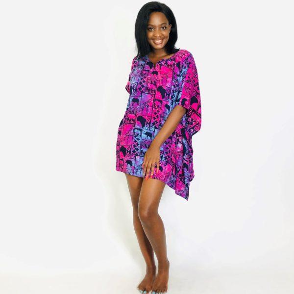 African Wild Map batik short kaftan summer maxi top purple