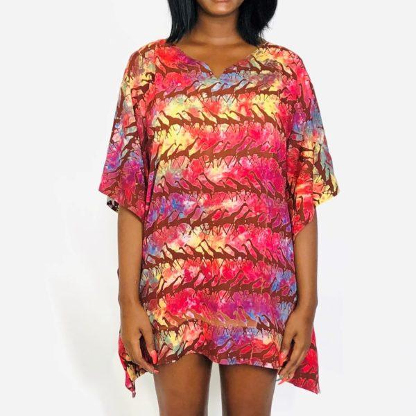 Running Giraffe African batik short kaftan summer maxi top red