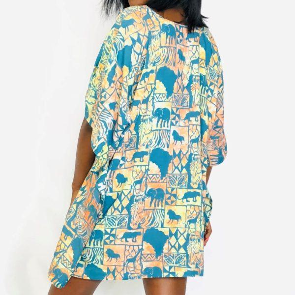 African Flower batik short kaftan summer maxi top light green