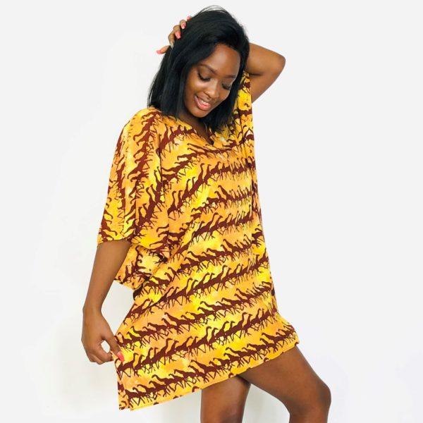 Running Giraffe African batik short kaftan summer maxi top brown