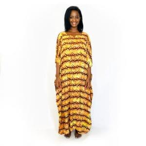 Running Giraffe African batik long kaftan summer maxi dress brown