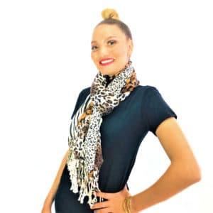 Leopard Zebra mix animal pashmina prints shawl scarf brown