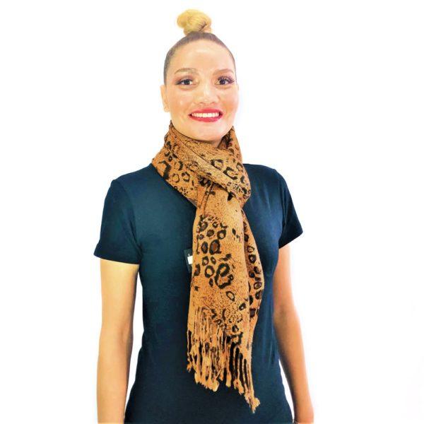 Leopard big spots animal pashmina prints shawl scarf brown