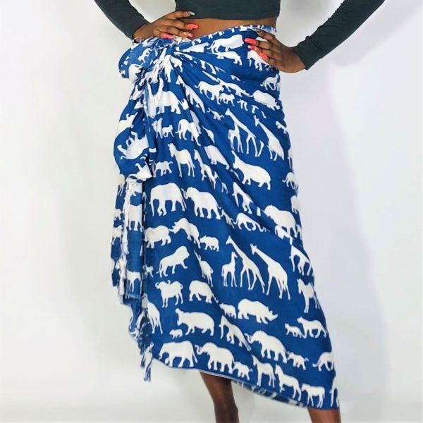 Animal family print Rayon sarong beach wrap with tassels blue