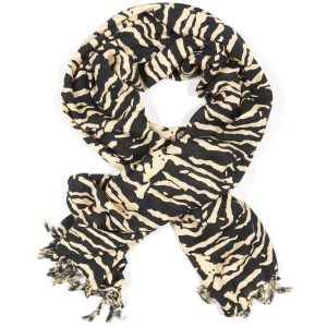 African Tiger print sarong scraf with tassels brown