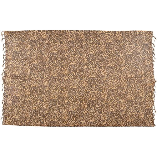 African Leopard small spots print sarong beach wrap scarf with tassels brown