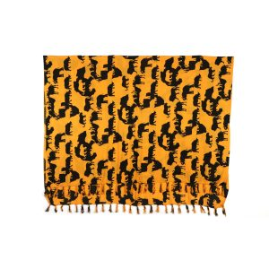 Big Five African map print rayon sarong beach wrap with tassels brown