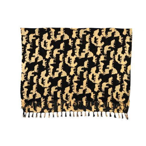 Big Five African map print rayon sarong beach wrap with tassels chocolate
