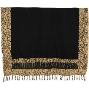 African Animal Leopard borders print sarong beach wrap scarf with tassels black