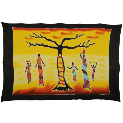 African Tree hand painted sarong beach wrap sunset