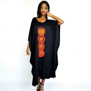 African Circle hand embroidered long kaftan maxi dress red