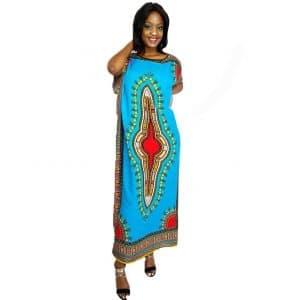 African Dashiki print long kaftan summer maxi dress turquoise