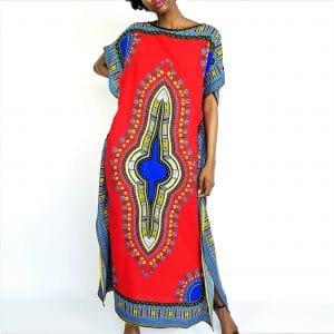 African Dashiki print long kaftan summer maxi dress red