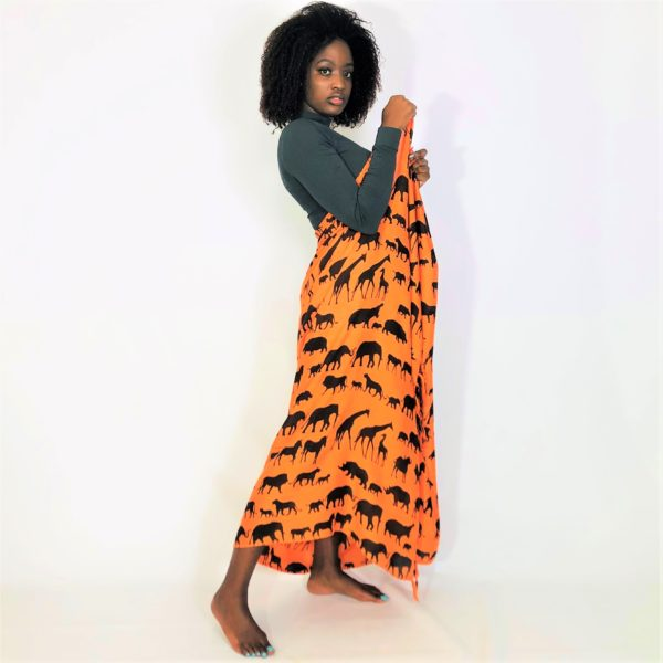 Animal family print Rayon sarong beach wrap with tassels orange