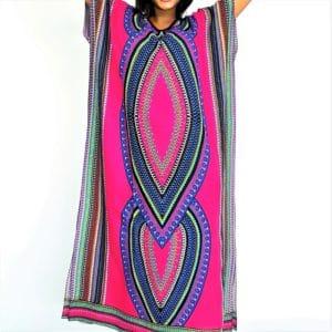 African Dashiki tribal long Viscose kaftan summer maxi dress cerise