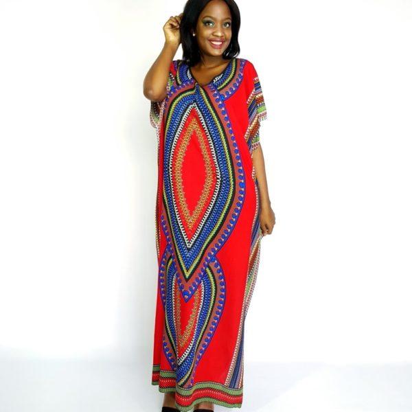 African Dashiki tribal long Viscose kaftan summer maxi dress red