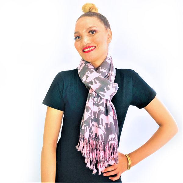 Ellie Family animal pashmina prints shawl scarf grey and pink
