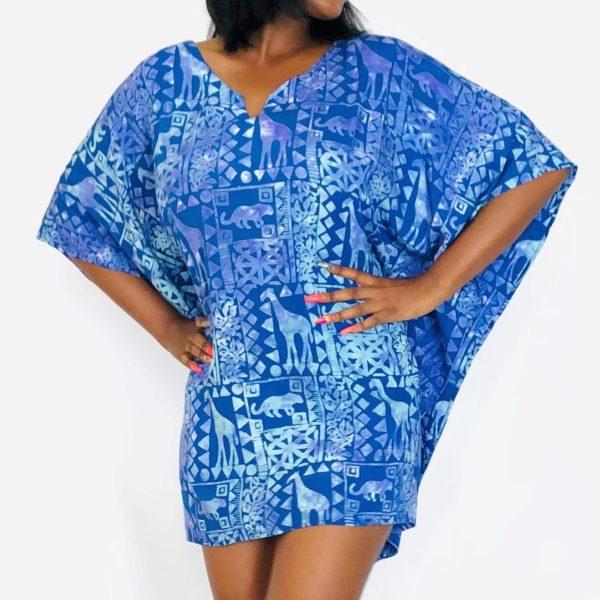 African Lifestyle batik short kaftan summer maxi top blue