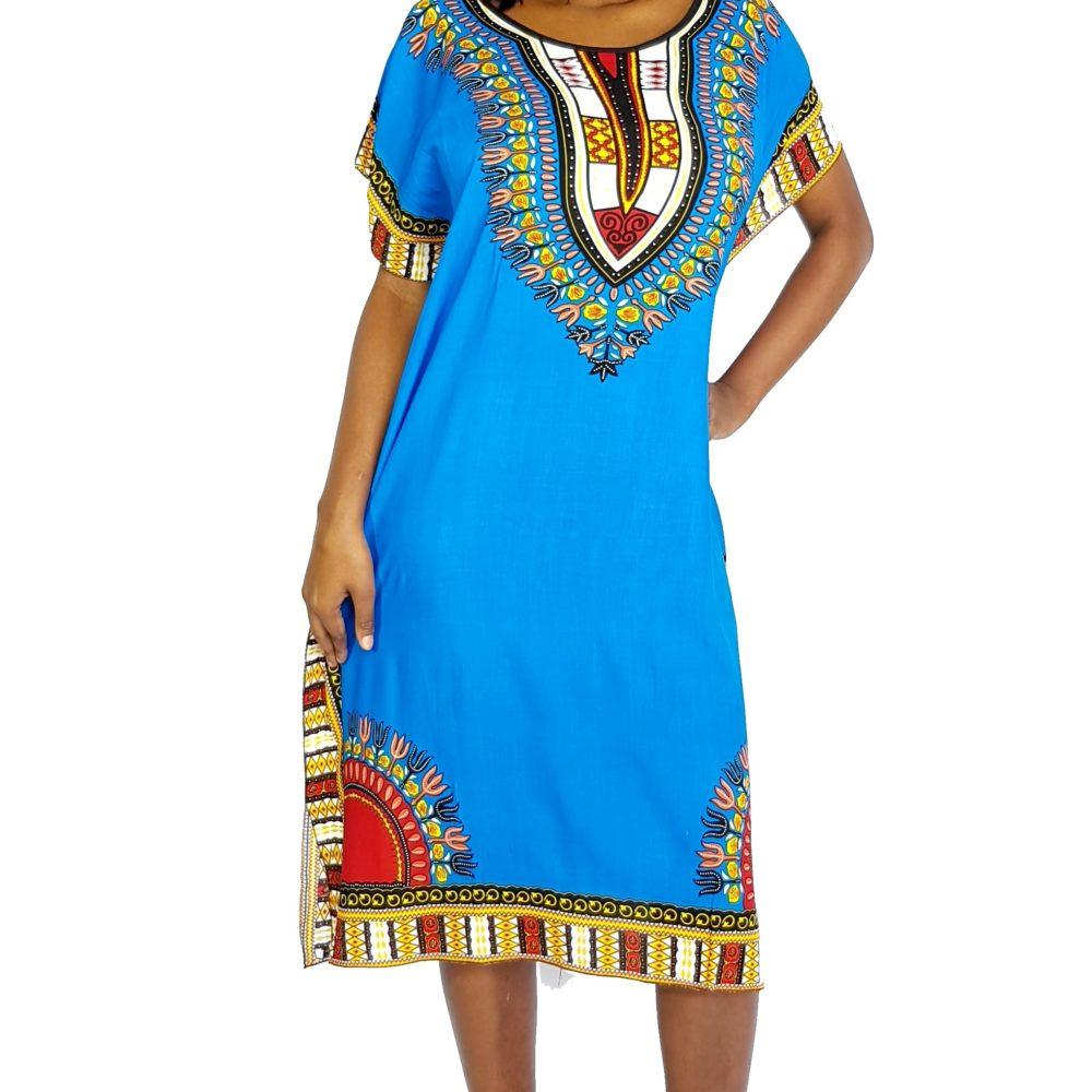 African Dashiki print slim long kaftan summer dress Turquoise