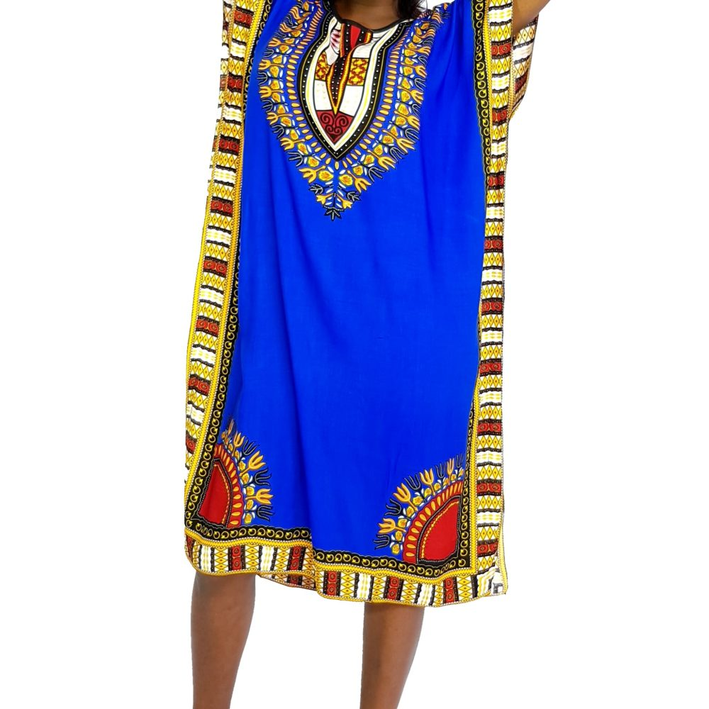 African Dashiki print slim long kaftan summer dress Royal blue