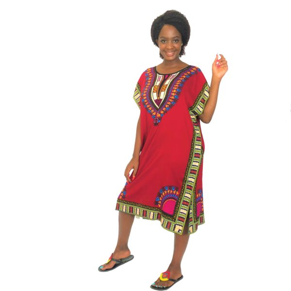 African Dashiki print slim long kaftan summer dress Burgandy