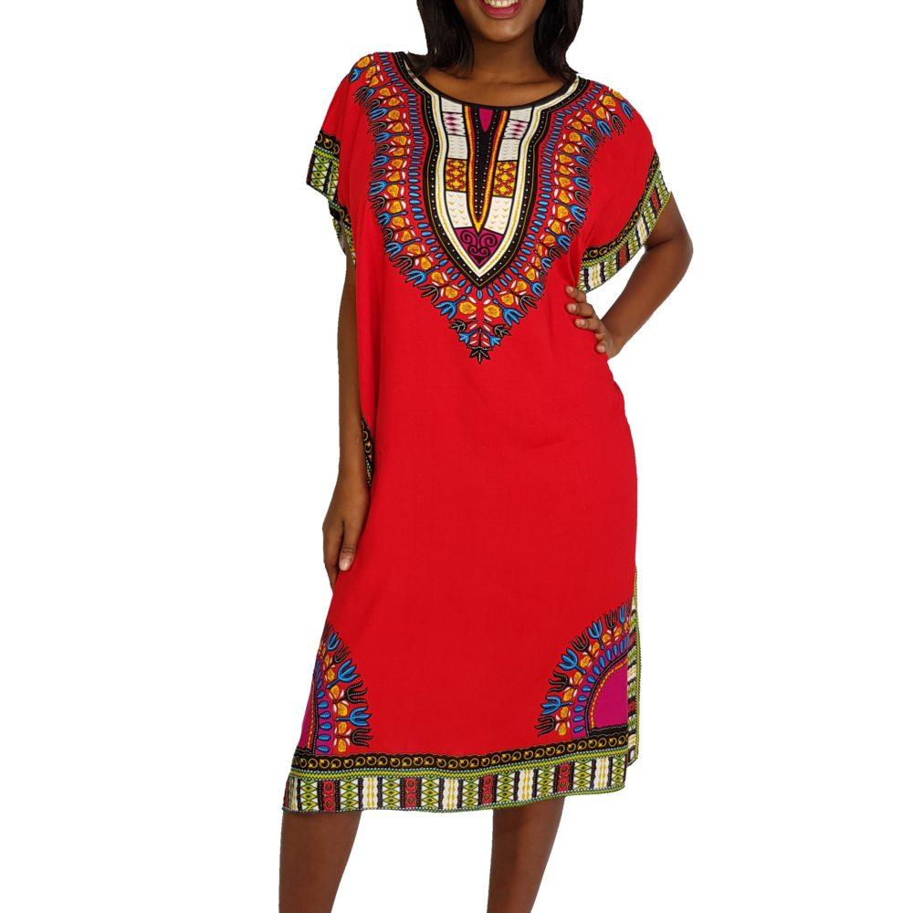African Dashiki print slim long kaftan summer dress red