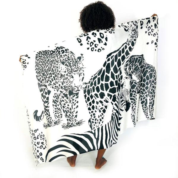 African Giraffe Leopard Zebra print rayon sarong beach wrap with tassels white