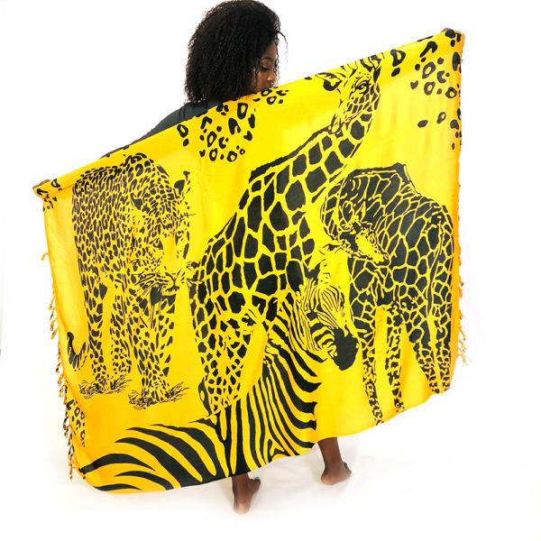 African Giraffe Leopard Zebra print rayon sarong beach wrap with tassels orange