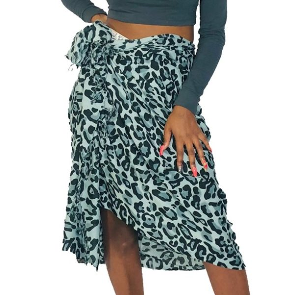 Leopard large spots print sarong beach wrap scarf with tassels grey