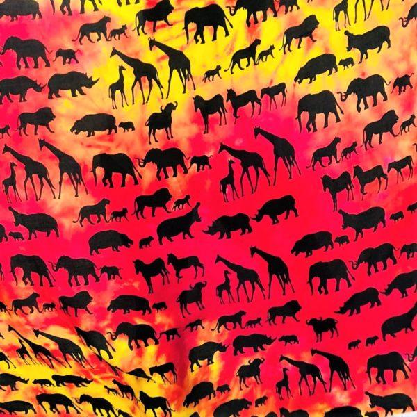 Animal family print Rayon sarong beach wrap with tassels pink
